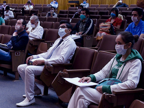 Medical Students Learn to Wear Face Masks and Sit Two Seats Apart,  in Preparation for Volunteer Work in Mexico City