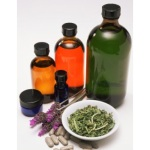 homeopathy herbs and bottles