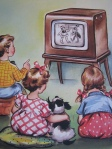 Cartoon children watching TV